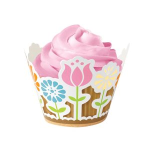 Modern Garden Party Cupcake Wraps 18 pcs