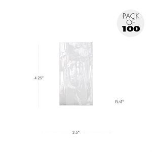 Cellophane Bags  2 1 / 2 X 4 1 / 4 Inch Flat Pack of 100
