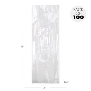 Cellophane Bags  3 X 11 Inch Medium Pretzel Flat Pack of 100