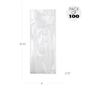 Cellophane Bags  4 X2 3 / 4 X 10 3 / 4 Inch Flat Pack of 100