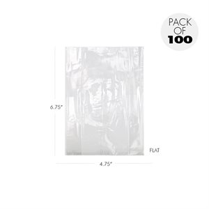 Cellophane Bags  4 3 / 4 x 6 3 / 4 Inch Flat Pack of 100