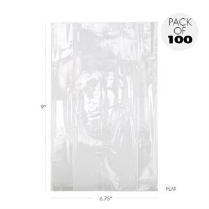 "Cellophane Bags 6 3 / 4"" X 9"" Flat Pack of 100"