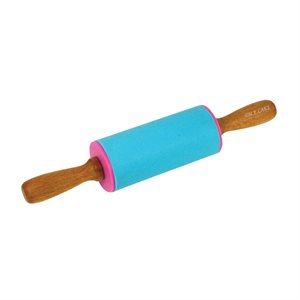 4 Inch Silicone Rolling Pin with Wooden Handles