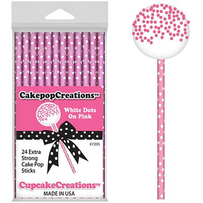 White Dots on Pink Cake Pop Sticks Pack of 24