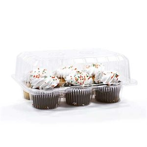 Standard Cupcake Box Clear 6 Cavity Hinge