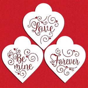 Love,Be Mine,Forever Hearts Cookie Stencil By Designer Stencils