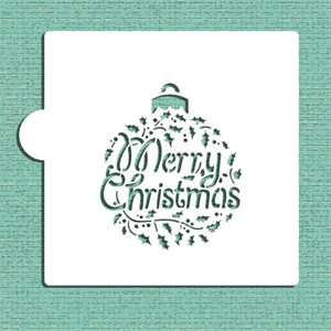 Merry Christmas Holly Ornament Cookie Stencil