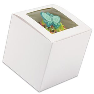 "White Cupcake Box 3"" x 3"" x 3"" w /  Square Window"
