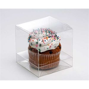 "Clear Cupcake Box 3"" x 3"" x 3""( No Insert)-Pack of 25"
