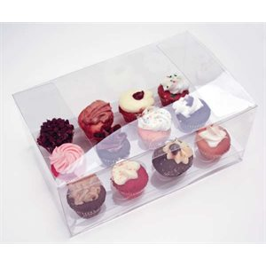Clear Mini Cupcake Box Holds 12 w /  Insert- 1 pc