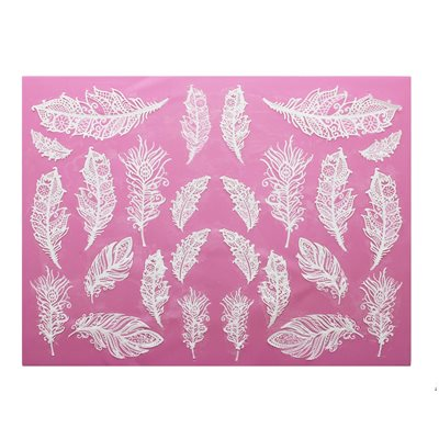 Feathers 3D Large Cake Lace Mat By Claire Bowman