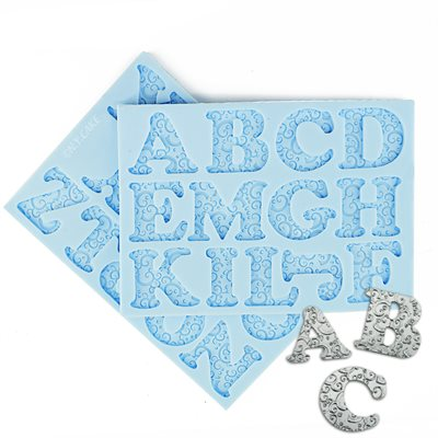 Romantic Swirl Uppercase Alphabet Letters Silicone Mold-2 Piece Set