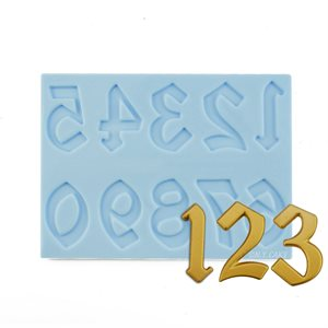 Old English Numbers Silicone Mold