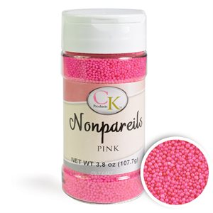 Pink Nonpareils Sprinkles 3.8 Ounce