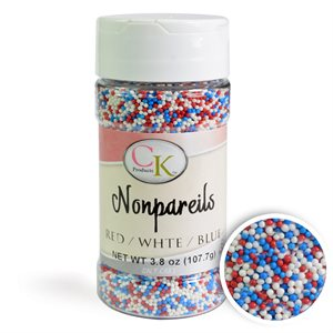 Red, White & Blue Patriotic Nonpareils Sprinkles 3.8 Ounce