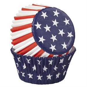 Red ,White & Blue Standard Baking Cup By Wilton