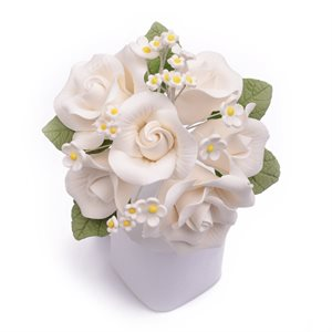 White Garden Rose Bouquet Sugar Flowers