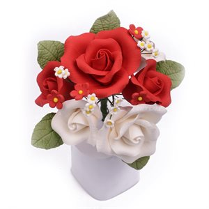 Red Garden Rose Bouquet Sugar Flowers