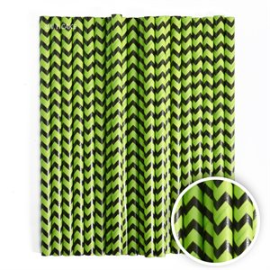 Green & Black Chevron Cake Pop Sticks- 6 Inch -Pack of 25