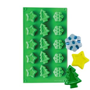 Snowflake,Tree and Star Silicone Novelty Bakeware