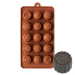 Fluted Round with Flower Silicone Chocolate Mold