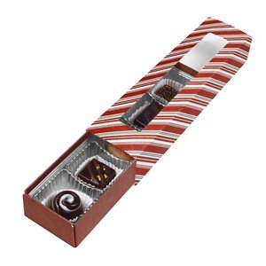Red & White Stripe Chocolate Box 5 Piece Slider-Pack of 5