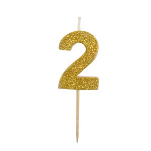 Gold Glitter Number 2  Candle 1 3 / 4""
