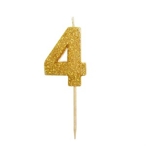 Gold Glitter Number 4 Candle 1 3 / 4""