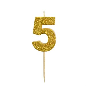 Gold Glitter Number 5 Candle 1 3 / 4""