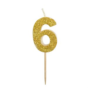 Gold Glitter Number 6 Candle 1 3 4
