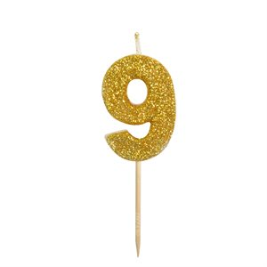 Gold Glitter Number 9 Candle 1 3 / 4""