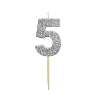 Silver Glitter Number 5 Candle 1 3 / 4""