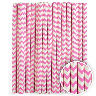 Pink Chevron Cake Pop Sticks- 6 Inch -Pack of 25